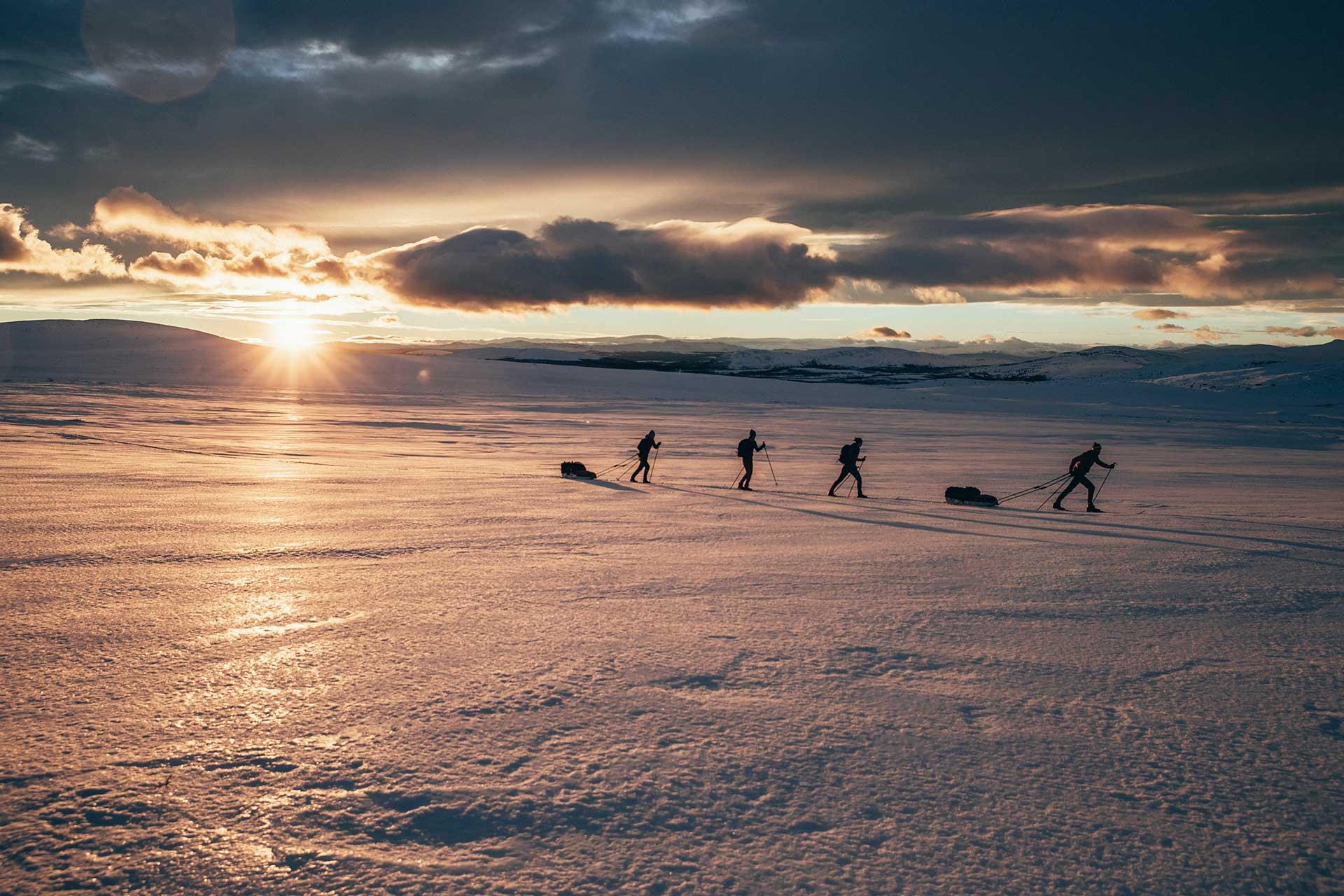 Winterlandschaft Sonnenaufgang Schnee Langlauf Tour Sport Fotograf