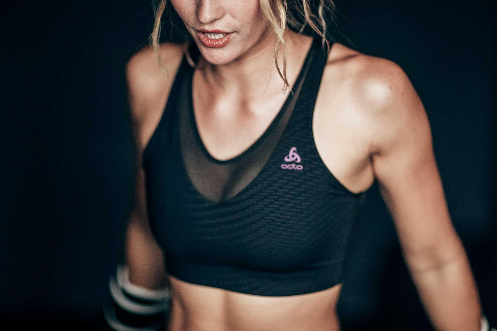 Muskeln Frauen Power Fotograf Sport Fitness Training Boxen Odlo