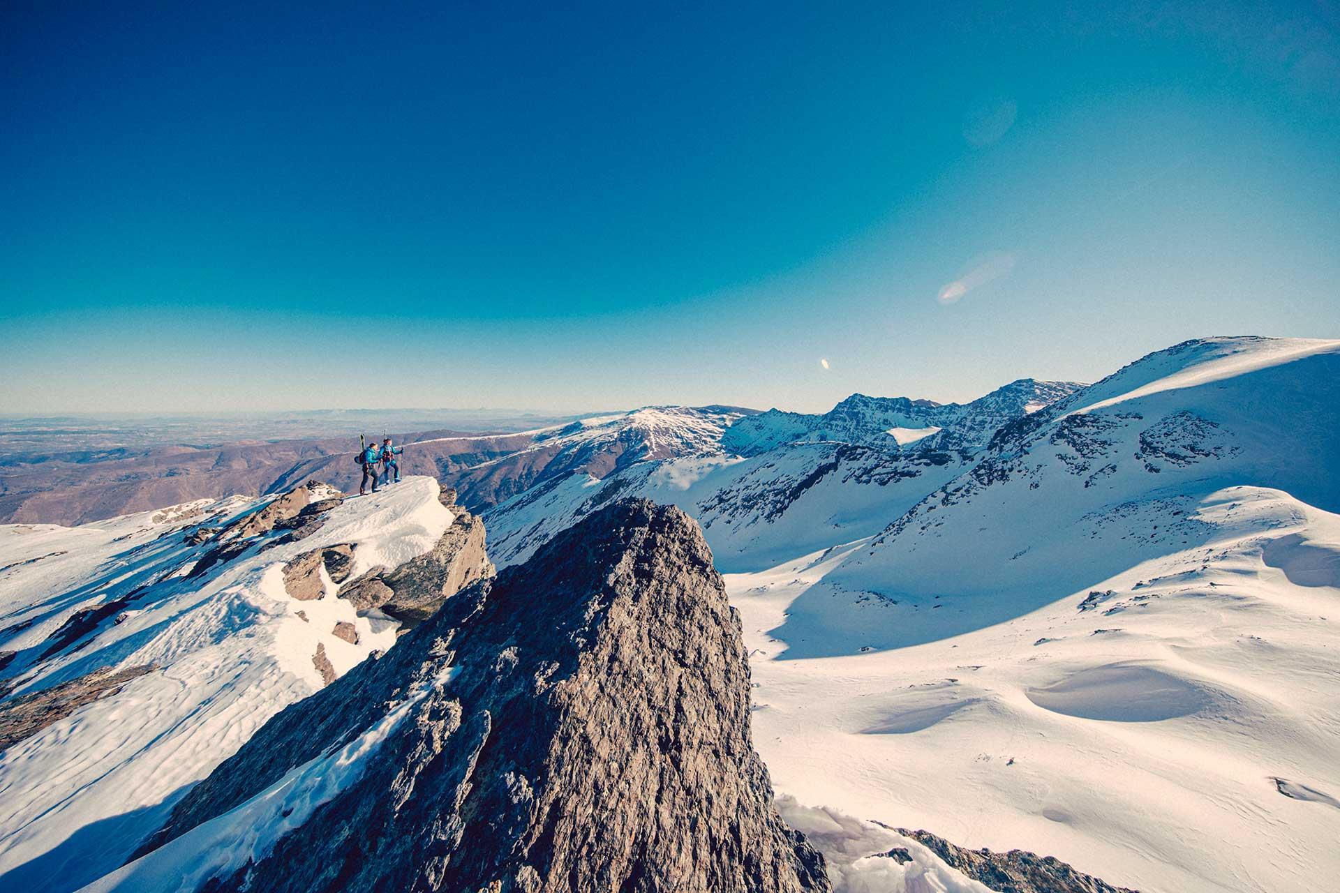 Panorama Landschaft Berge Gipfel Wintersport Ski Fotograf Sierra Nevada