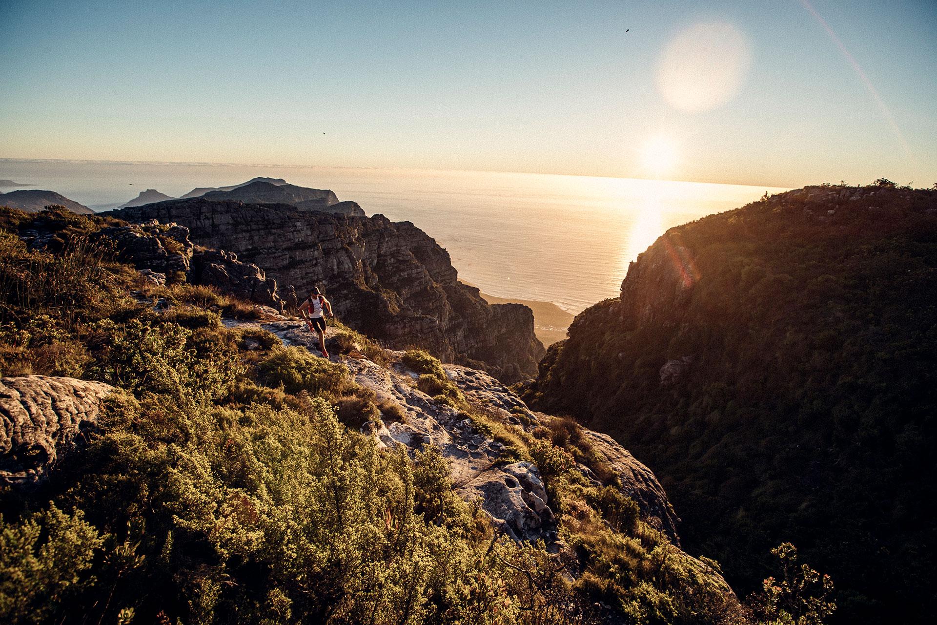 Sonnenaufgang Fotoproduktion Landschaft Panorama Sportbekleidung Engelhorn