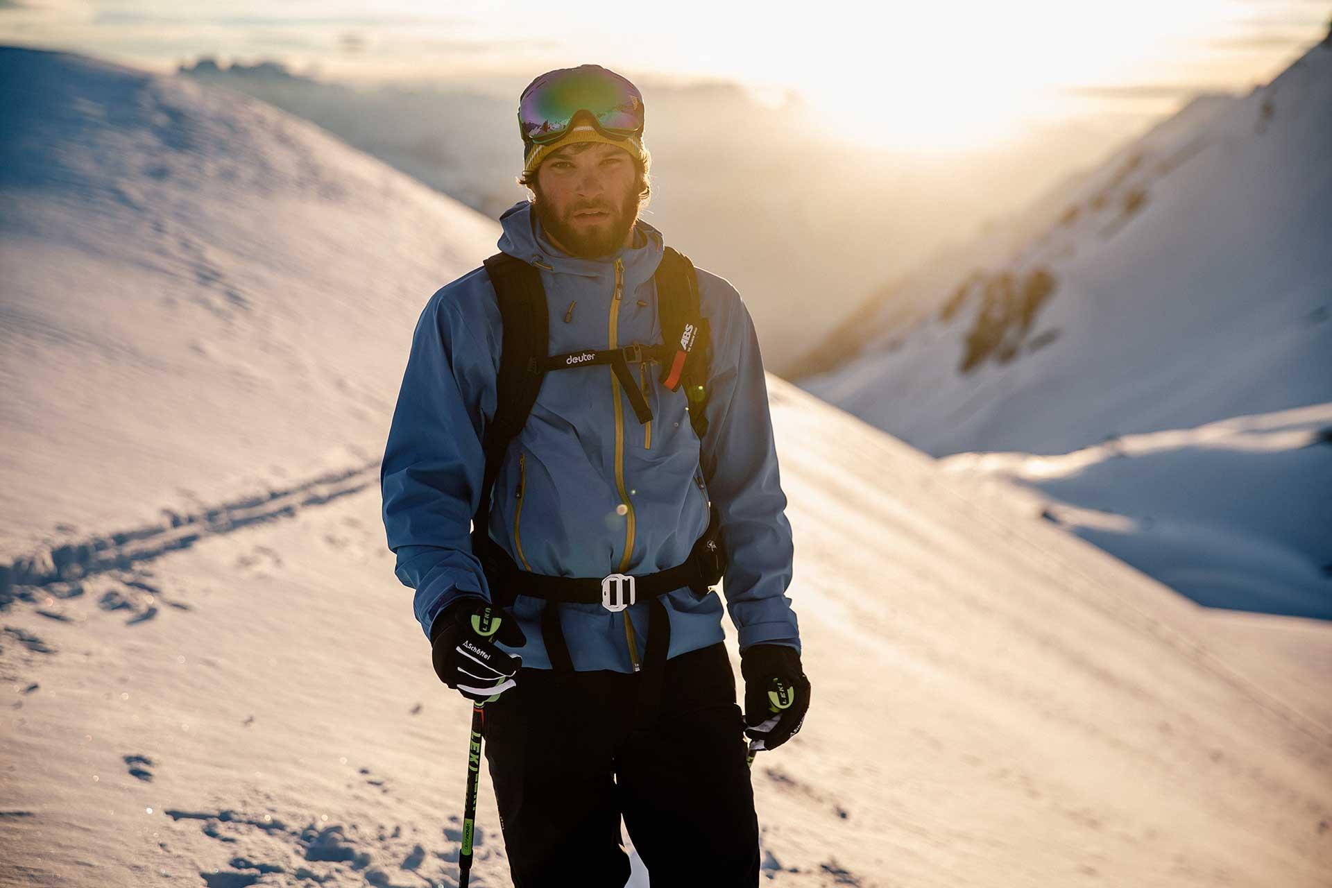 Wintersport Tiefschnee Sportfotograf Arlberg Bekleidung Schöffel