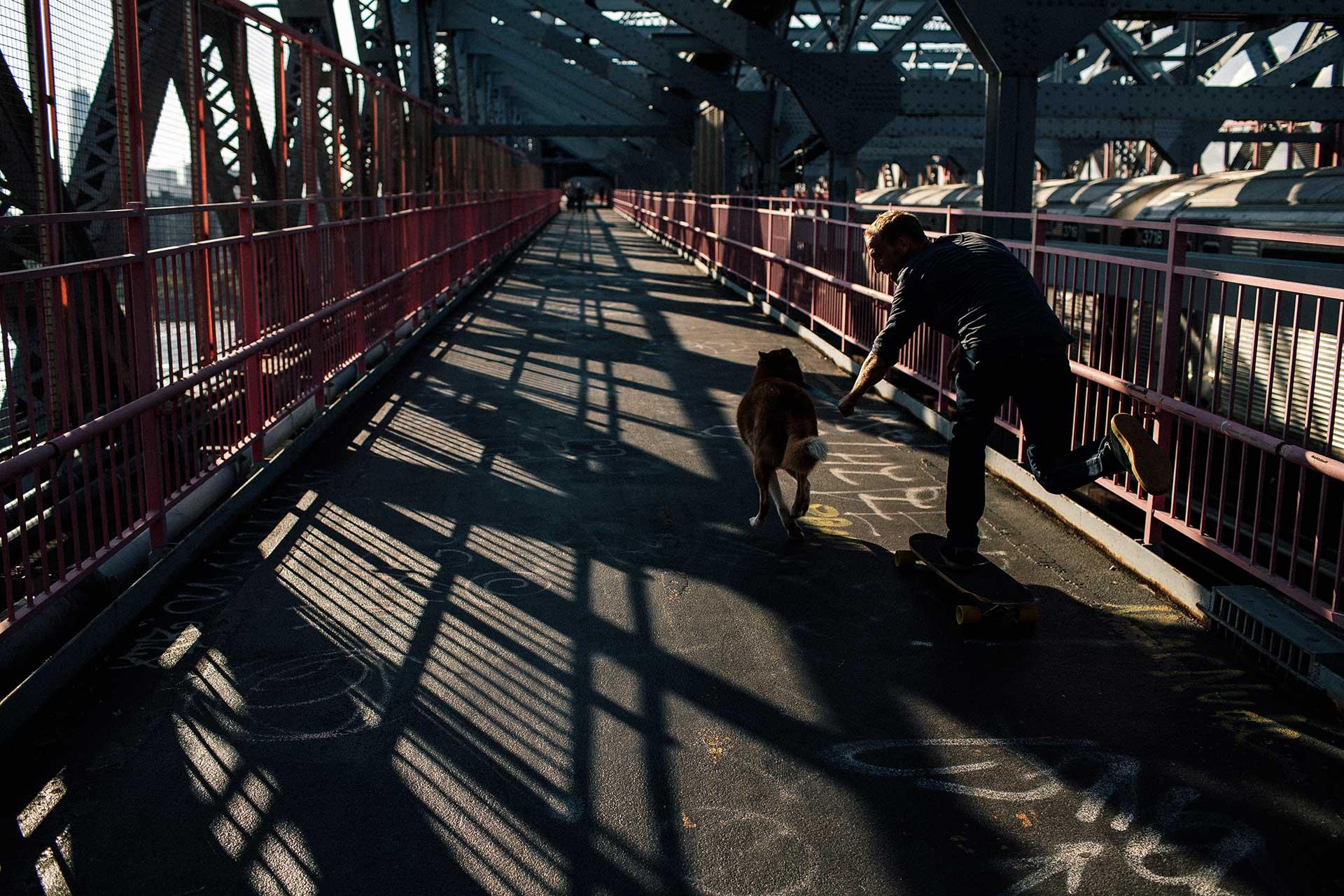 Skateboarder Hund Urban Lifestyle Fotograf New York Brücke