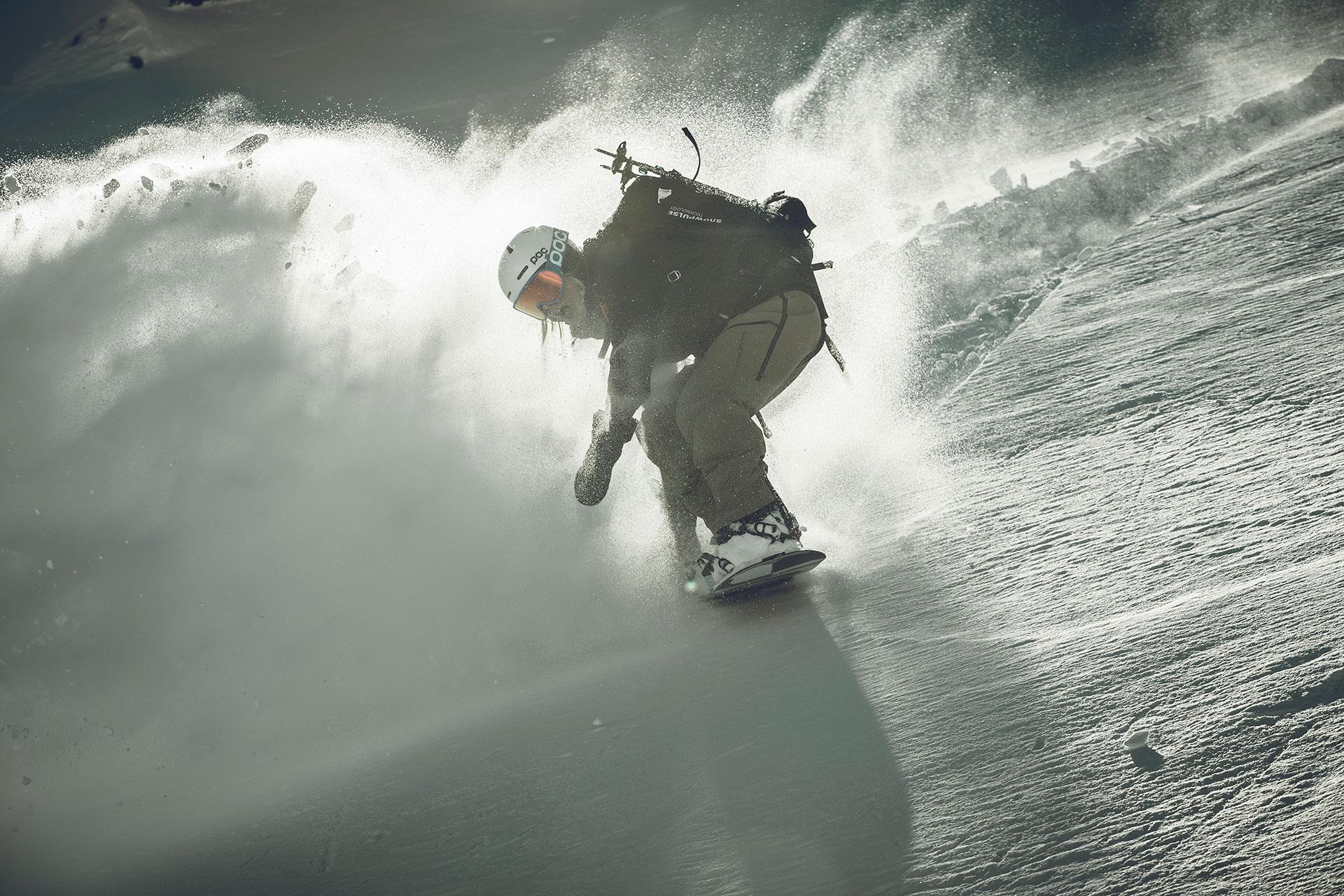 Snowboard Aktion Sport Fotograf winter Splitboard Produktion Tiefschnee